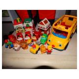 Fisher Price Little People bus, buildings, cars,