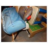 High chair, pack n play, plastic table, wood play