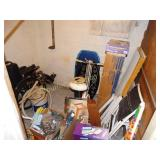 Basement closet contents- Wheel chair, pet