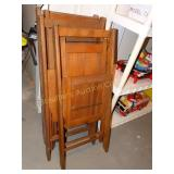 4 Folding wood chairs