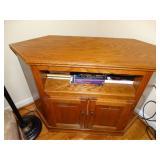 "Oak Corner Cabinet with contents, 16.5""d x 44""w x"