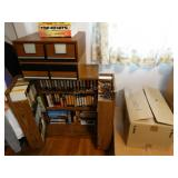VHS tapes, cabinet, DVD, 2 boxes of VHS tapes,