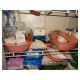 3rd shelf, medical supplies, lotions, body wash,