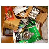 Assorted light bulbs, electrical socket for