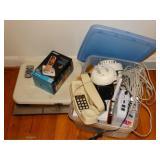 Assorted smoke detectors, telephones, scales, etc