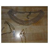Pearl choker and costume necklaces