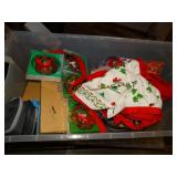 28 gal Rubbermaid container with Christmas décor,