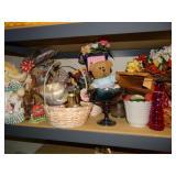 Contents of second shelf, décor, baskets,