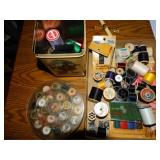 Notions and sewing lot, thread, needles etc