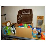 Top shelf contents, iron, ironing board, clothes