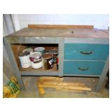 """Work table and contents, 24""""d x 49""""w x 34""""h"""