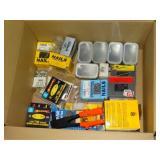 box of nails, staples, hardware, etc