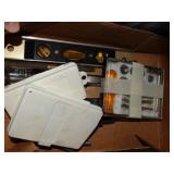 "Craftsman 9"" level, black and decker drill bits,"