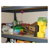 Shelf contents, vases, pots, miracle grow (open)