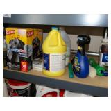 Contents of shelf, cleaners, garbage bags, etc