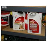 Contents of shelf, bug repellants, etc