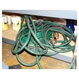 Contents of shelf, garden hose, paint, etc