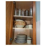 Contents of cabinet, glassware, plastic tumbler,