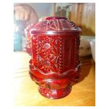 """2 pc red fairy glass lamp, 6.5""""h"""