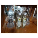 2 Kerosene glass lamps and 4 new bottles of Lamp