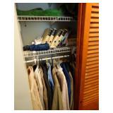 Contents of entry way closet, books, coats,