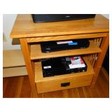 Oak one drawer stand with drawer contents only,