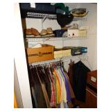 Contents of closet, Med shirts, pants size 38 M,