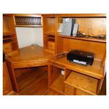 "4 pc corner desk 43"" x 50"" x 60""h and printer"