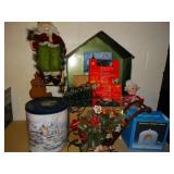 Christmas lights, Santa on ladder, sled, nativity