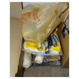 Paint supplies lot, rollers, pans, brushes, drop