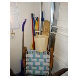 Brooms, plastic bucket, mops, swiffer, etc