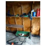 Spreader, garden tools, air pump, located in shed