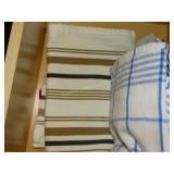 Contents of drawer, kitchen linens, hot pads,