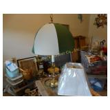 Brass lamp w/green & white shade and extra square