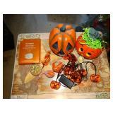 Halloween decorations:  lights, pumpkin, glimmer