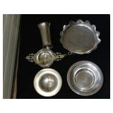 Williamsburg pewter pieces:  strawberry dish,