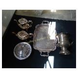 Gorham EP silver pieces:  Strasbourg pattern tea