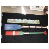 Beach theme items:  coat hanger oar, hat rack oar