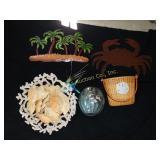 Beach deocrations:  crab shells, metal crab,