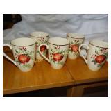 5 Lenox Williamsburg Boxwood & Pine mugs