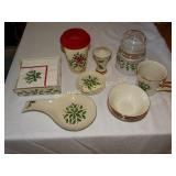 Lenox Holiday:  spoon rest, napkin holder, drink