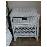 Wicker: 4 pc:  night stand, square mint color