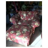 Floral Print Chair and Ottoman