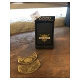 Harley Davidson Pins and Zippo Lighter