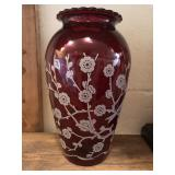 Etched Ruby Glass Vase