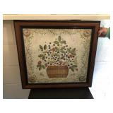 Framed Print with Basket of Flowers