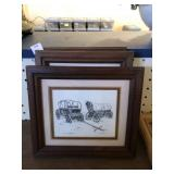 Three Framed Pen and Ink Drawings