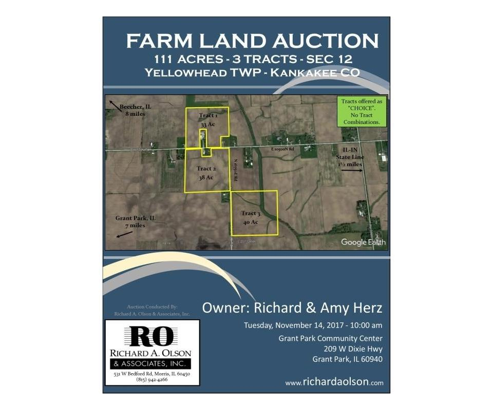 Illinois Map Grant 2017.Farm Land Auction 111 Ac 3 Tracts In Kankakee Co Il