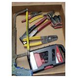 DRILL BITS, SNAP RING PLIERS, WIRE STRIPPERS, ETC