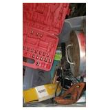 PLASTIC TOTE W/ 200 FOOT MEASURE TAPE, ETC